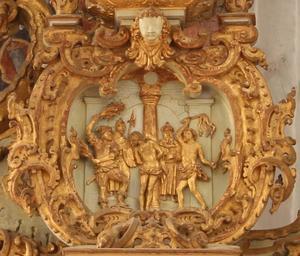 De geseling van Christus, detail uit altaarstuk uit 1664 in Sankt Olai Kirke, Helsingør