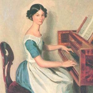 Portret van Nadezhda Zhadanovich achter het piano