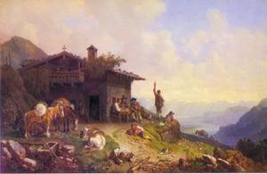 Voor de berghut in de Alpen