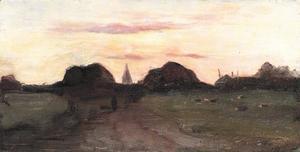 Landschap met kerktoren en hooiberg