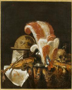 Vanitasstilleven met een hemelglobe, een helm met rood-witte pluim, een viool, schedel en andere voorwerpen