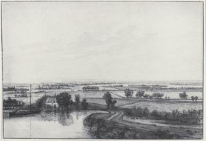 Panoramalandschap met een huis en een boot op een rivier