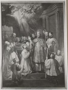 De H. Ambrosius van Milaan doopt de H. Augustinus in het bijzijn van zijn moeder de H. Monica van Tagaste
