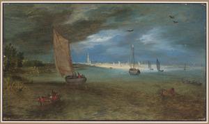 Gezicht op de Schelde met Antwerpen in de verte