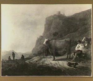 Berglandschap herders en vee