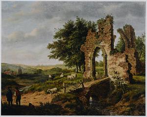 Landschap met de ruïne van een poort