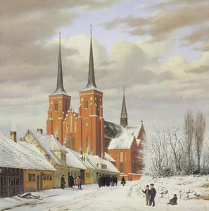 Straat in Roskilde. Op de achtergrond de kathedraal