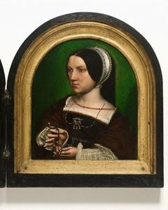 Portret van Elisabeth Doncke (....-....) (achterzijde: heraldisch wapen)