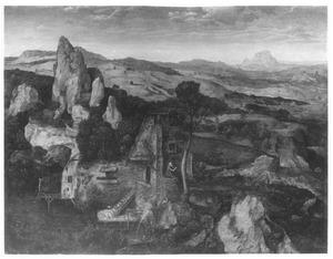Landschap met de ontmoeting van de HH. Paulus de Heremiet en Antonius Abt