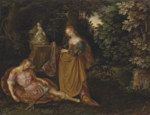 Pyramus en Thisme in een boslandschap