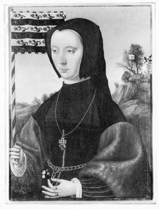 Portret van een vrouw met een banier in de hand
