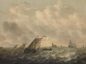 Scheepvaart op een rivier; centraal op de achtergrond het silhouet van een havenstad (Dordrecht?)