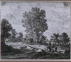 Landschap met figuren en paard-en wagen