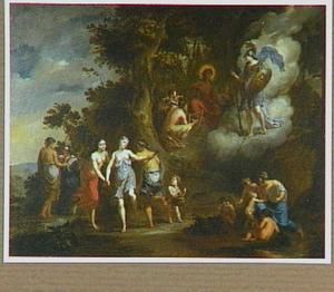 Pallas Athene bezoekt Apollo en de muzen op de Parnassus