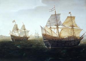 Zeegezicht met drie zeilschepen, waaronder mogelijk de 'Hollantsche Tuyn' en de 'Rode Leeuw'