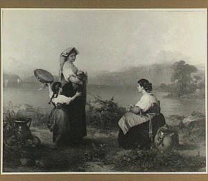 Twee boerinnen en een meisje uit de Romeinse Campagna bij een meer