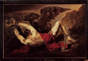De adelaar van Jupiter pikt Prometheus de lever uit