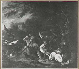Pluimvee, geiten en konijnen in een landschap; links valt een roofvogel een eend aan