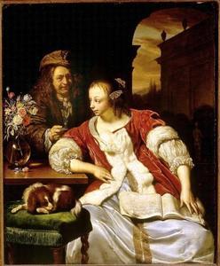Vrouw met een muziekboek en een man met een glas wijn