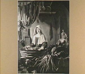 Keukenstuk met vrouw met hakmes en links een weggeschoven gordijn