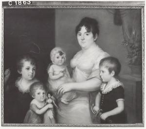 Portret van Wilhelmine Büsch (1772-1852) met drie zoons en een dochter