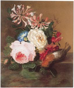 Stilleven met bloemen en roodborst