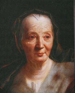 Portret van een oude vrouw met groene hoofddoek