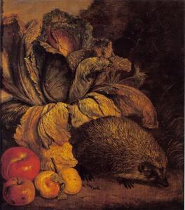 Bosstilleven met een egel, een groene kool en appels aan de voet van een boom