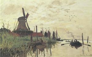 Windmolen en schepen bij Zaandam