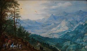 Panoramisch berglandschap met reizigers
