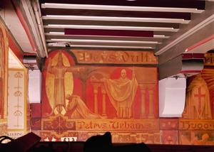 Christus aan het kruis, gekleed in koningsmantel, verschijnt aan Peter van Amiens / Paus Urbanus II op het Concilie van Clermont