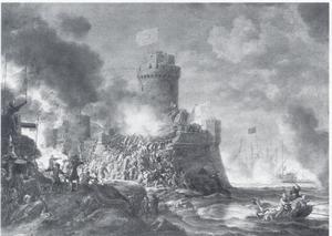 Kustgezicht met de bestorming van een vesting en oorlogsschepen