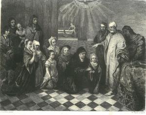 Petrus in het huis van Cornelius: de H. Geest daalt ner op Cornelius an zijn familie, die door Petrus gedoopt wordt  (Handelingen 10:25)