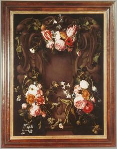 Cartouche versierd met bloemen, twee festoenen en een guirlande