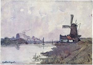 Molen aan de oever van de Maas bij Dordrecht