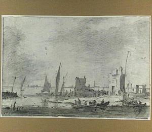 Rivierlandschap met vervallen torens, op de achtergrond een stad