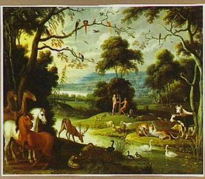Het paradijs met in de achtergrond de Zondeval (Genesis 3:6)