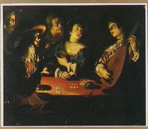 Kaartspelers en luitspeler bij kaarslicht