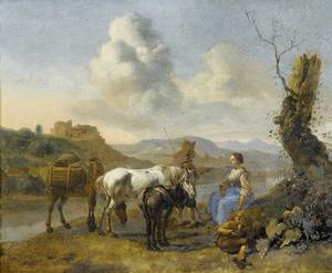 Zuidelijk landschap met rustende reizigers