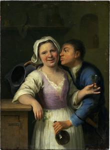 Een jongman tracht een meid te kussen