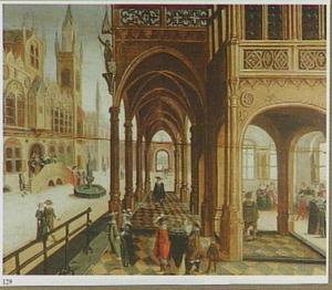 Stadsgezicht met een gotische galerij