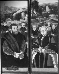 Stichter met twee zonen (linkerluik); Stichtster met drie dochters (rechterluik)