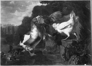 Eenden, kippen en een uil met gespreide vleugels in een parklandschap