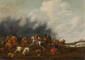 Landschap met een ruitergevecht