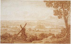 Panoramalandschap met standerdmolen