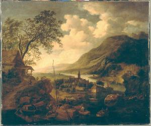 Berglandschap met aanlegplaats bij een dorp