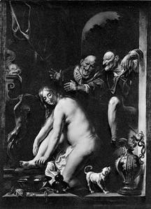 Suzanna door de ouderlingen belaagd tijdens haar toilet (Daniël 13:1-63)