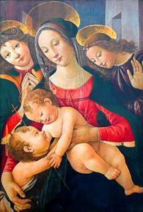 Maria met kind, engelen en Johannes de Doper