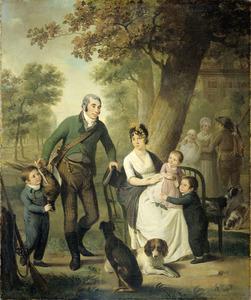 Portret van Gijsbert Carel Rutger Reinier van Brienen van Ramerus (1771-1821) en Geertruid Elisabeth de Graeff (1776-1857) en hun vier oudste kinderen