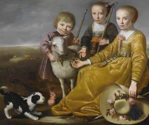 Portret van drie kinderen met dieren in een landschap